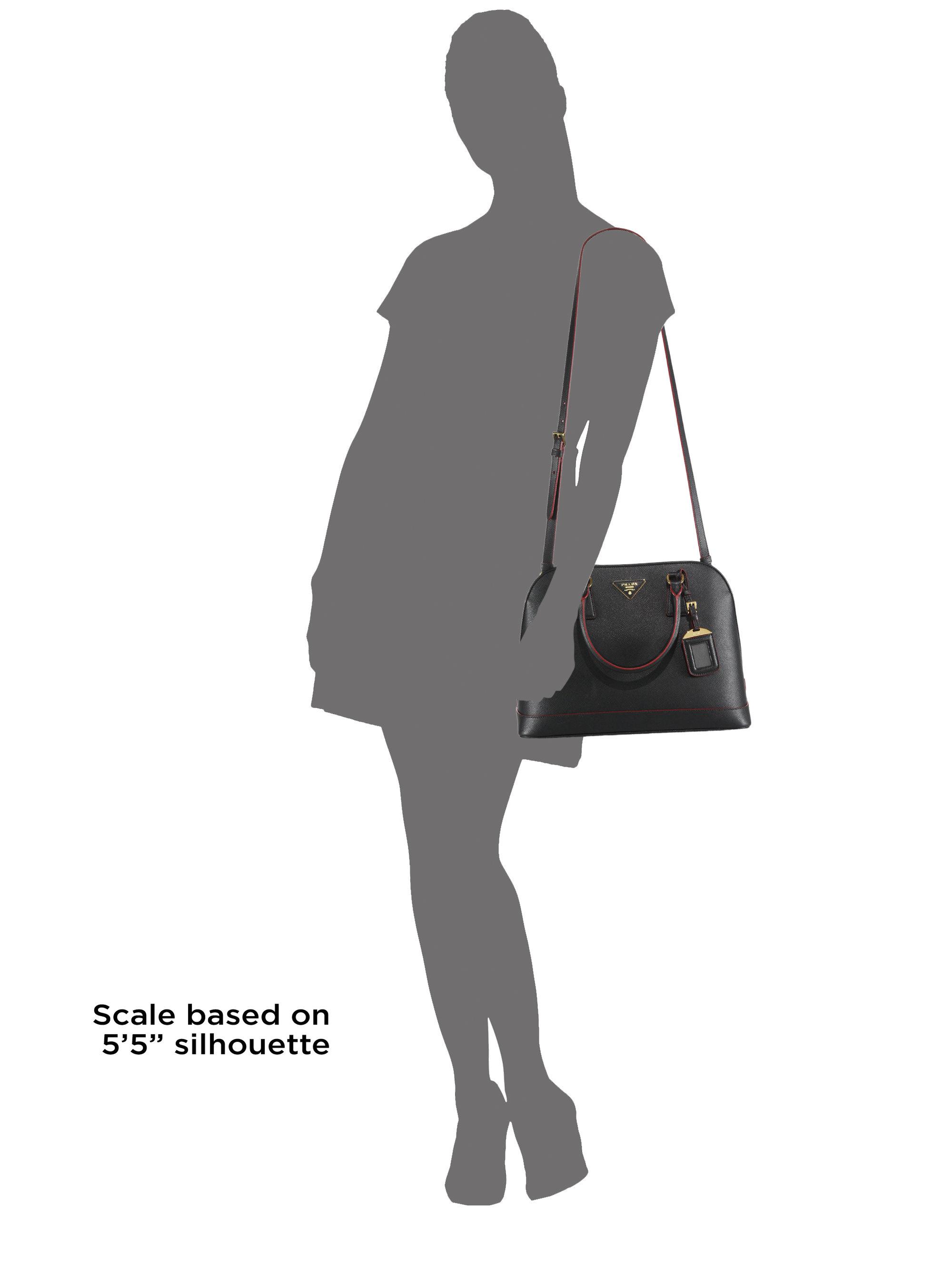 106ff56da8e4 Prada Saffiano Lux Promenade Leather Satchel in Black - Lyst