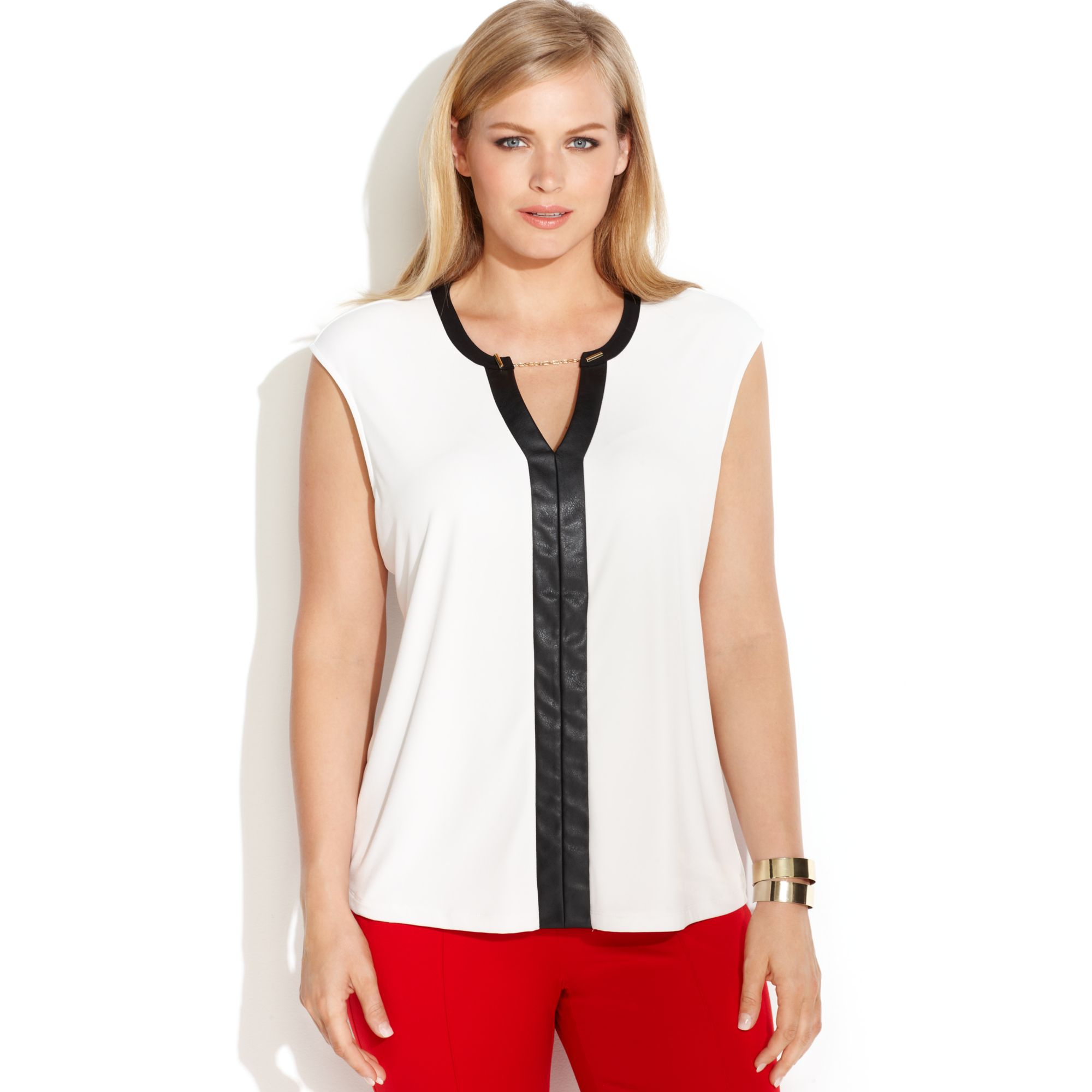 53ec98aeed1 Lyst - Calvin Klein Plus Size Faux Leather Trim Sleevless Blouse in ...