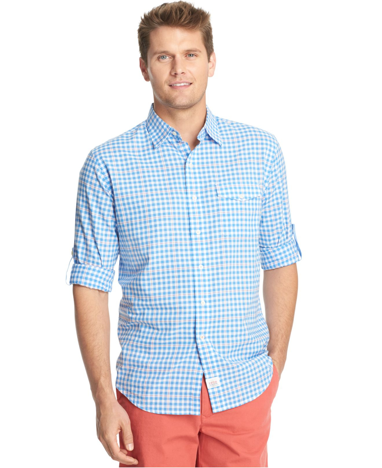 Lyst izod roll tab plaid pocket long sleeve shirt in for Men s roll tab sleeve shirts