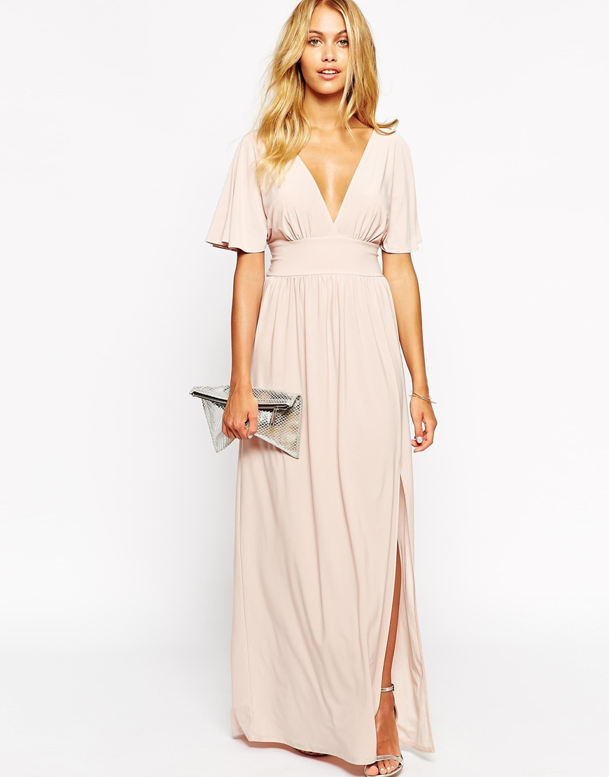 Lyst Love Kimono Sleeve Maxi Dress In Natural