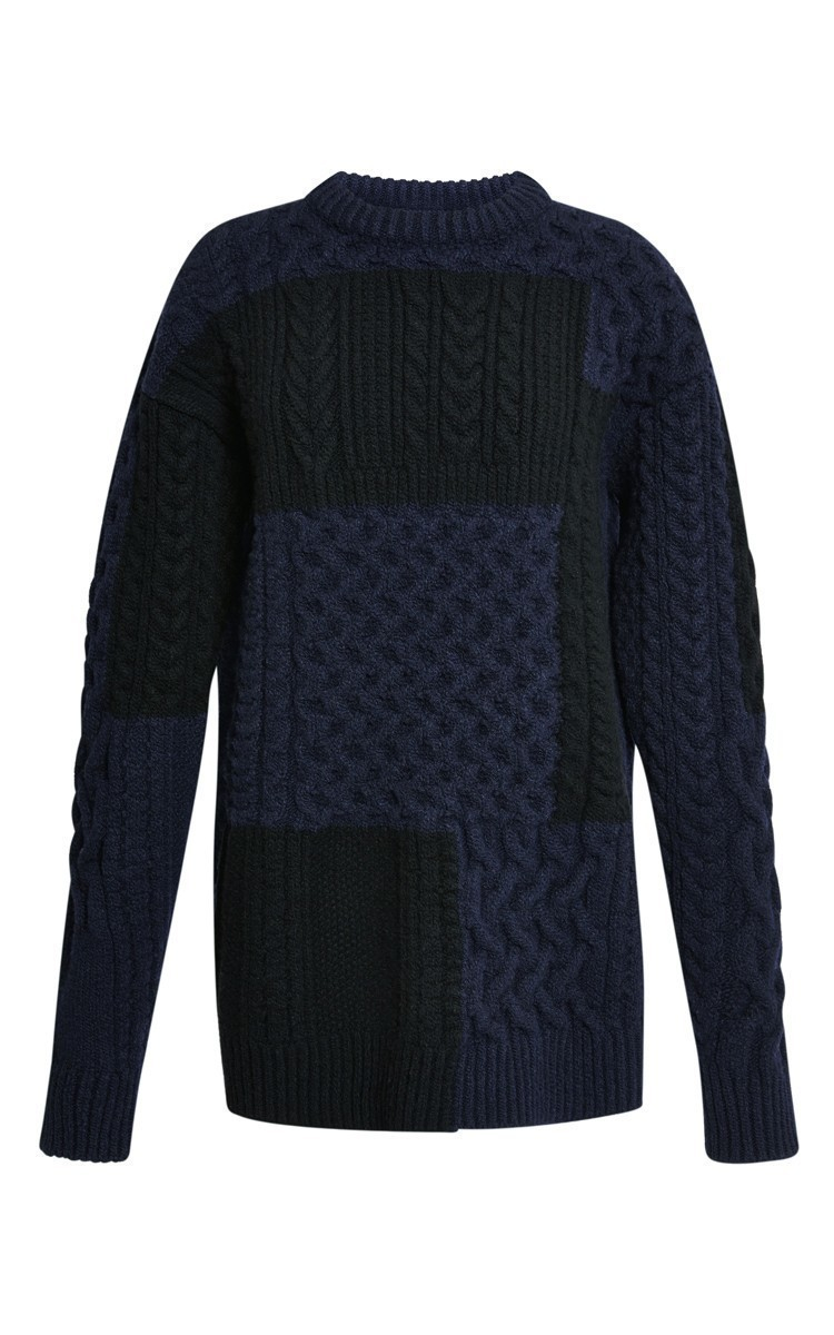 Nina ricci Navy And Black Patchwork Cable Knit Sweater in Blue | Lyst