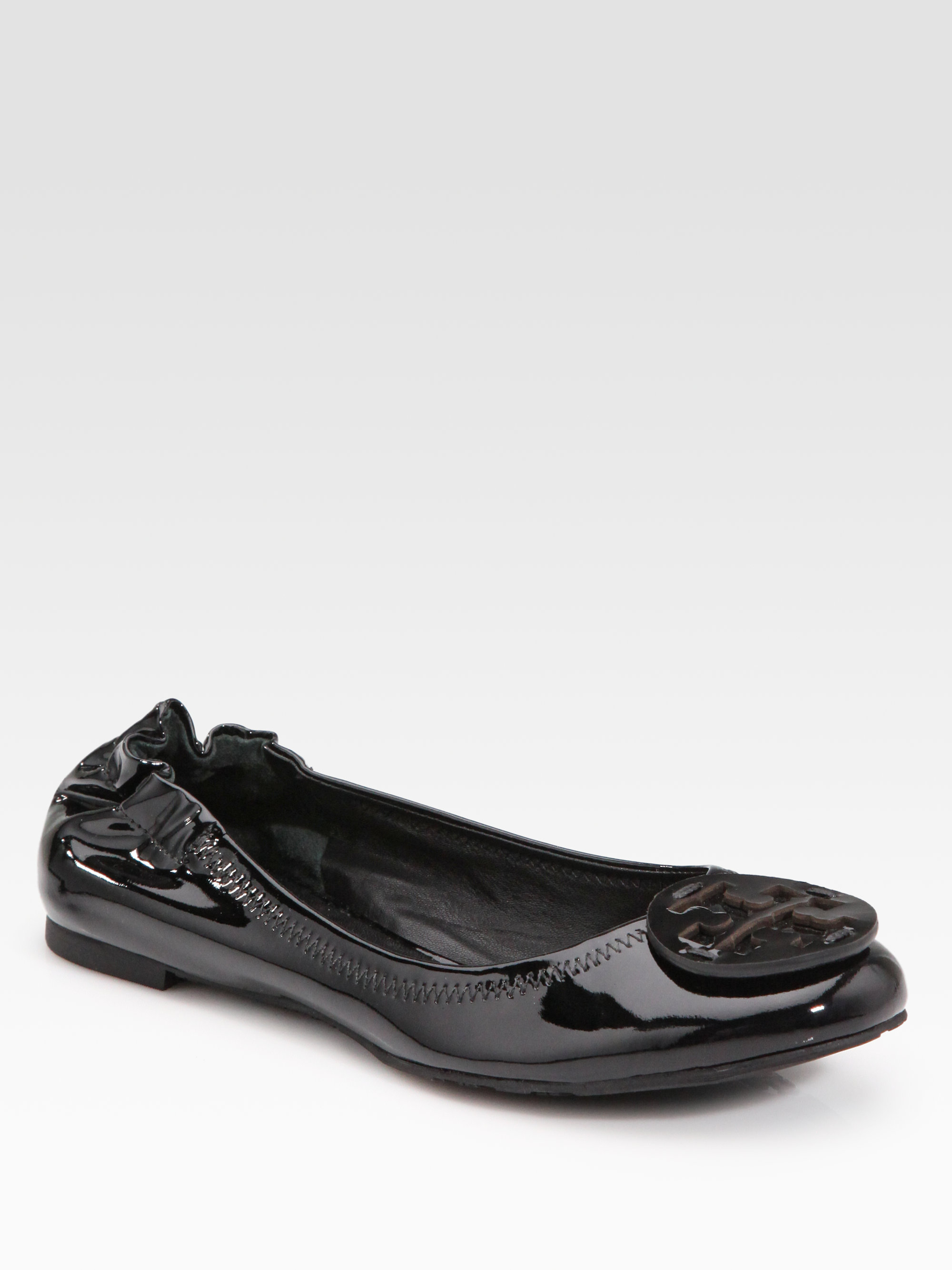 21c2e602b ... new zealand lyst tory burch reva patent leather ballet flats in black  60fd9 ec829