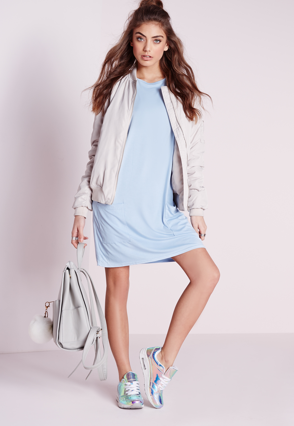 9445dcc2a405 Lyst - Missguided Jersey Pocket Front T-shirt Dress Powder Blue in Blue