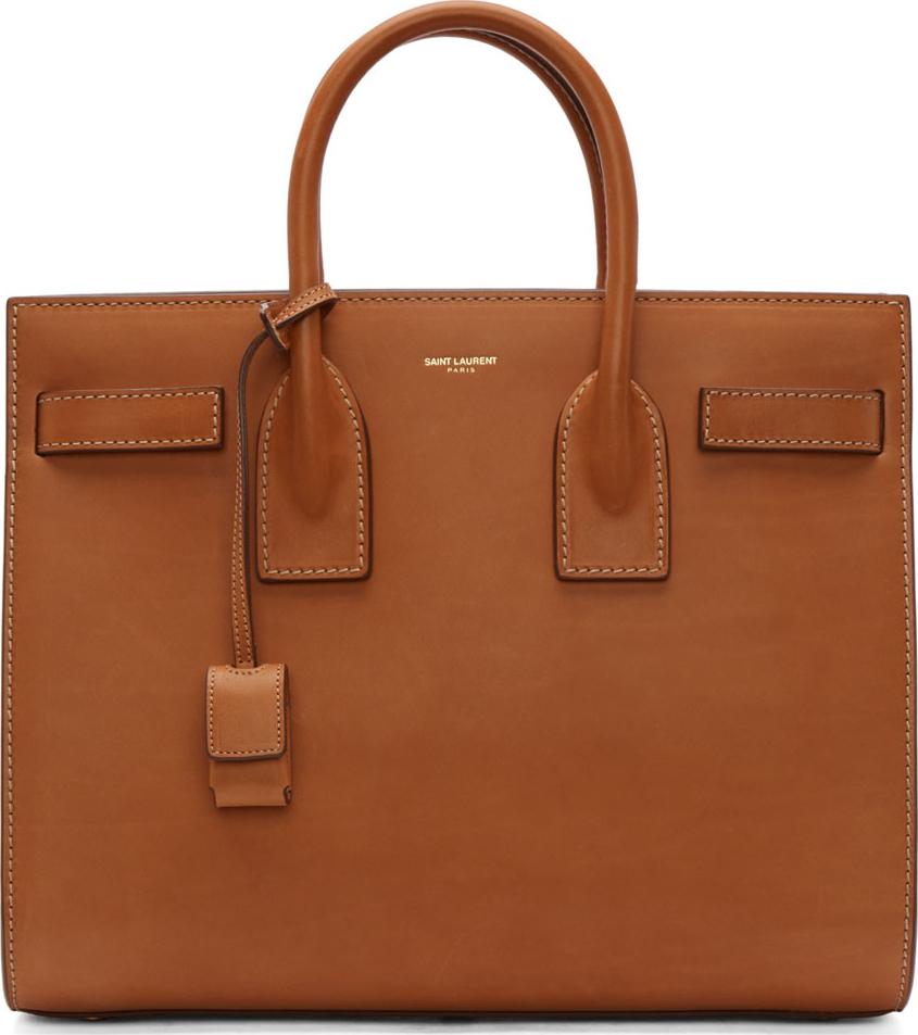 Saint Laurent Cognac Leather Sac Du Jour Small Tote Bag In