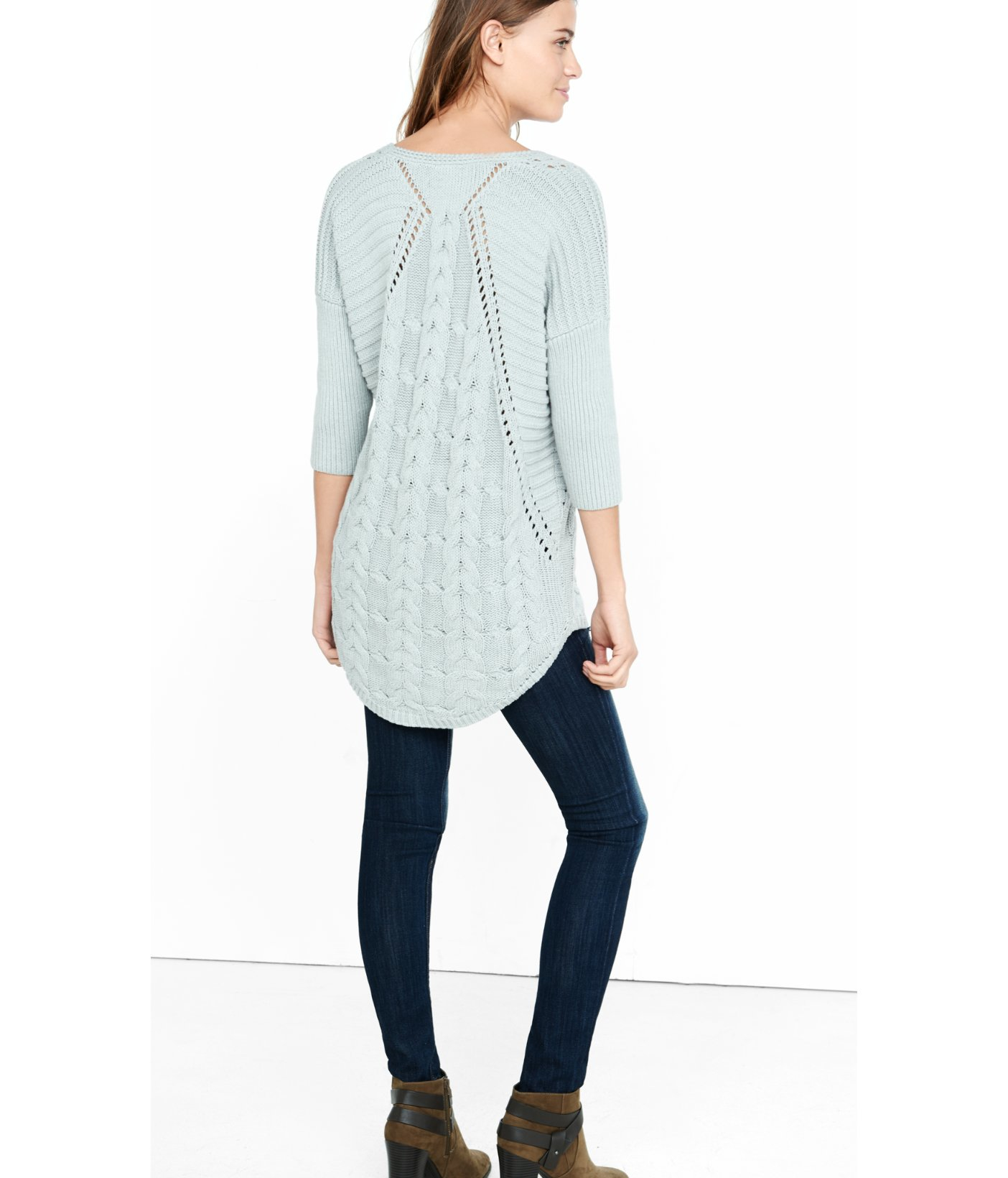 Express Cable Knit London Tunic Sweater in White | Lyst