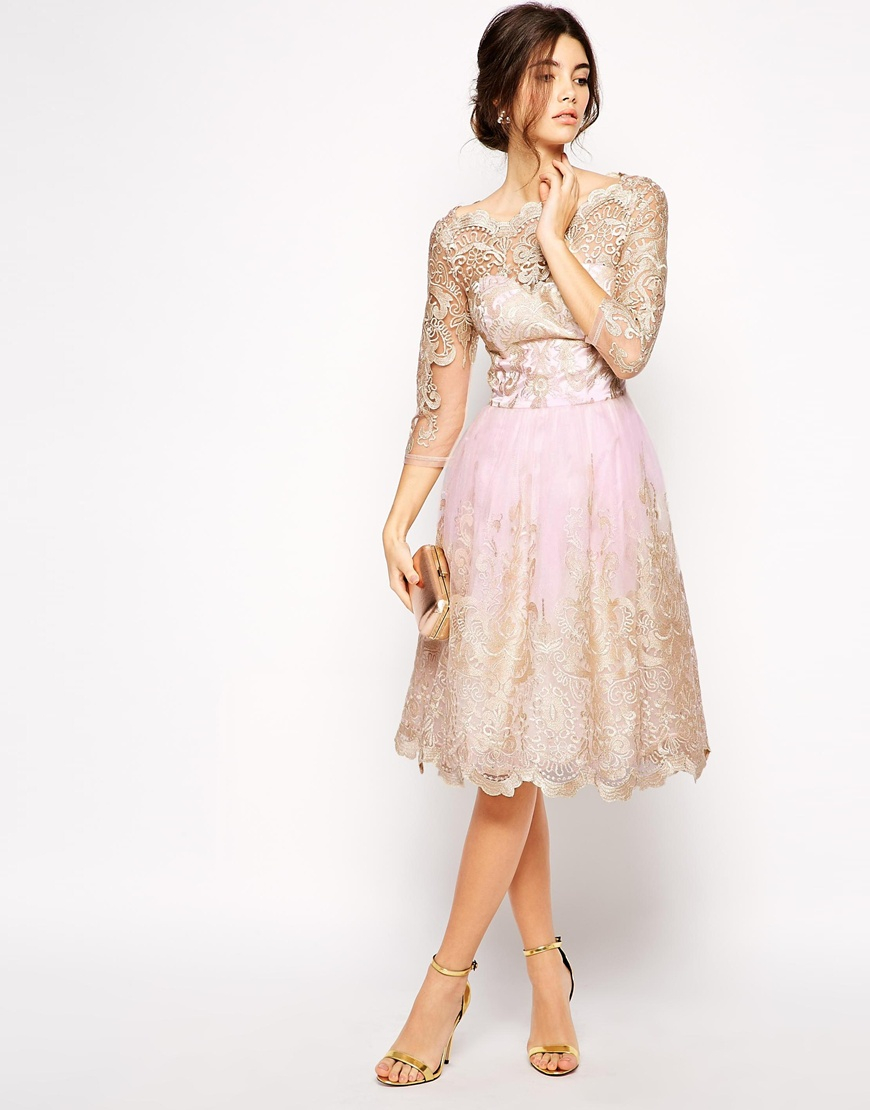 Lyst - Chi Chi London Premium Metallic Lace Prom Dress With Bardot ... 7872a830ab