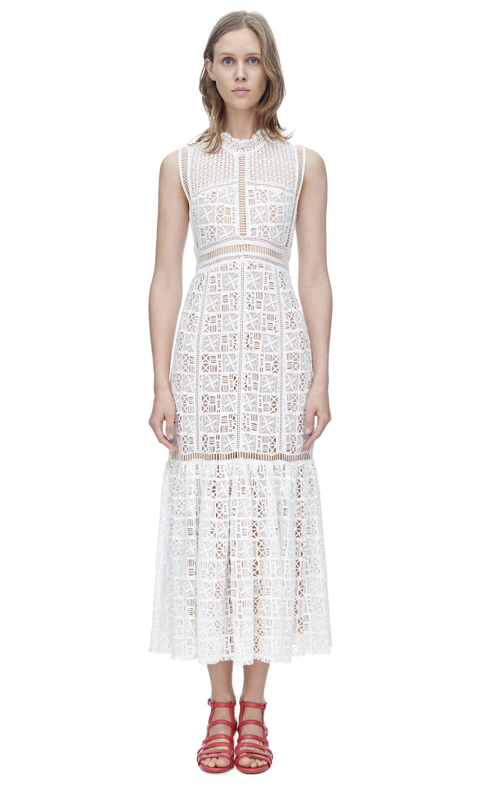 Lyst - Rebecca Taylor Sleeveless Crochet Lace Dress in White