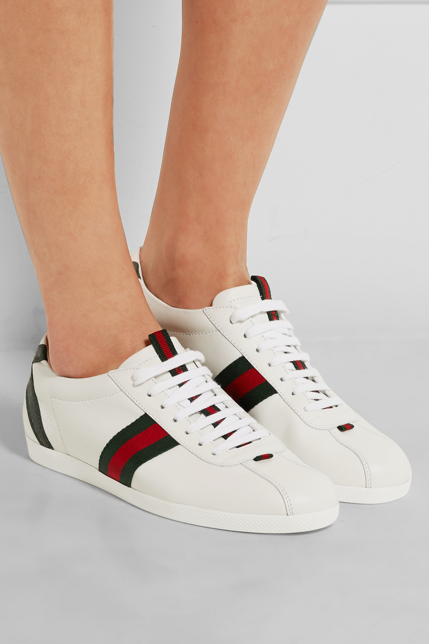 06aba8706b2 Lyst - Gucci New Ace Watersnake-trimmed Leather Sneakers in White