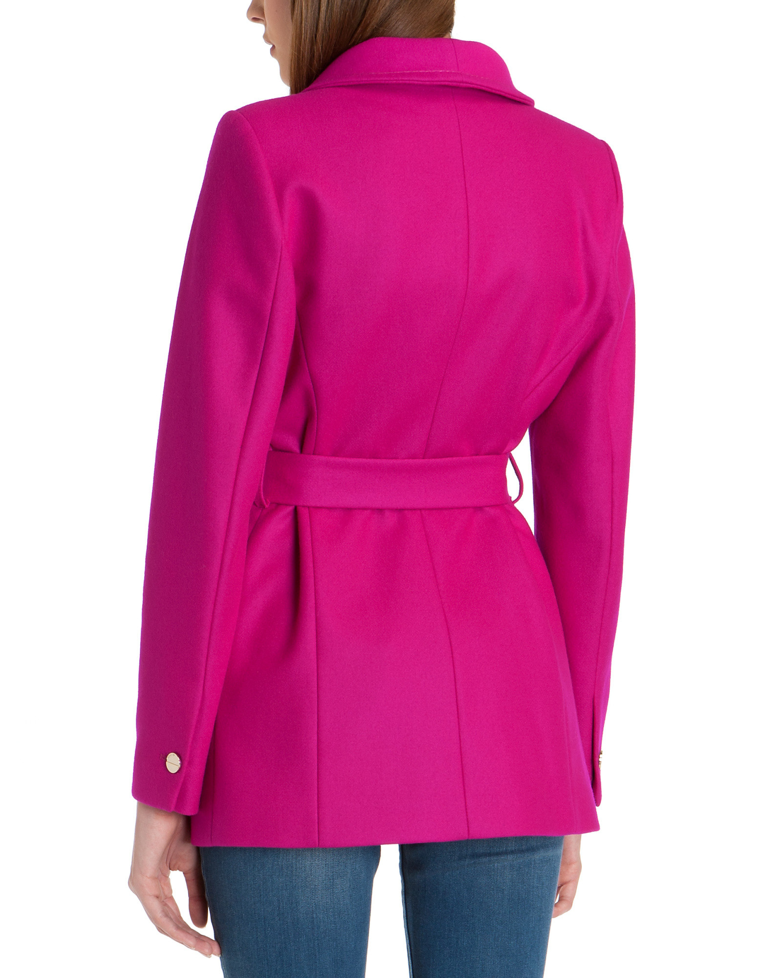 a8567999b96745 Lyst - Ted Baker Chessy Short Wrap Coat in Pink