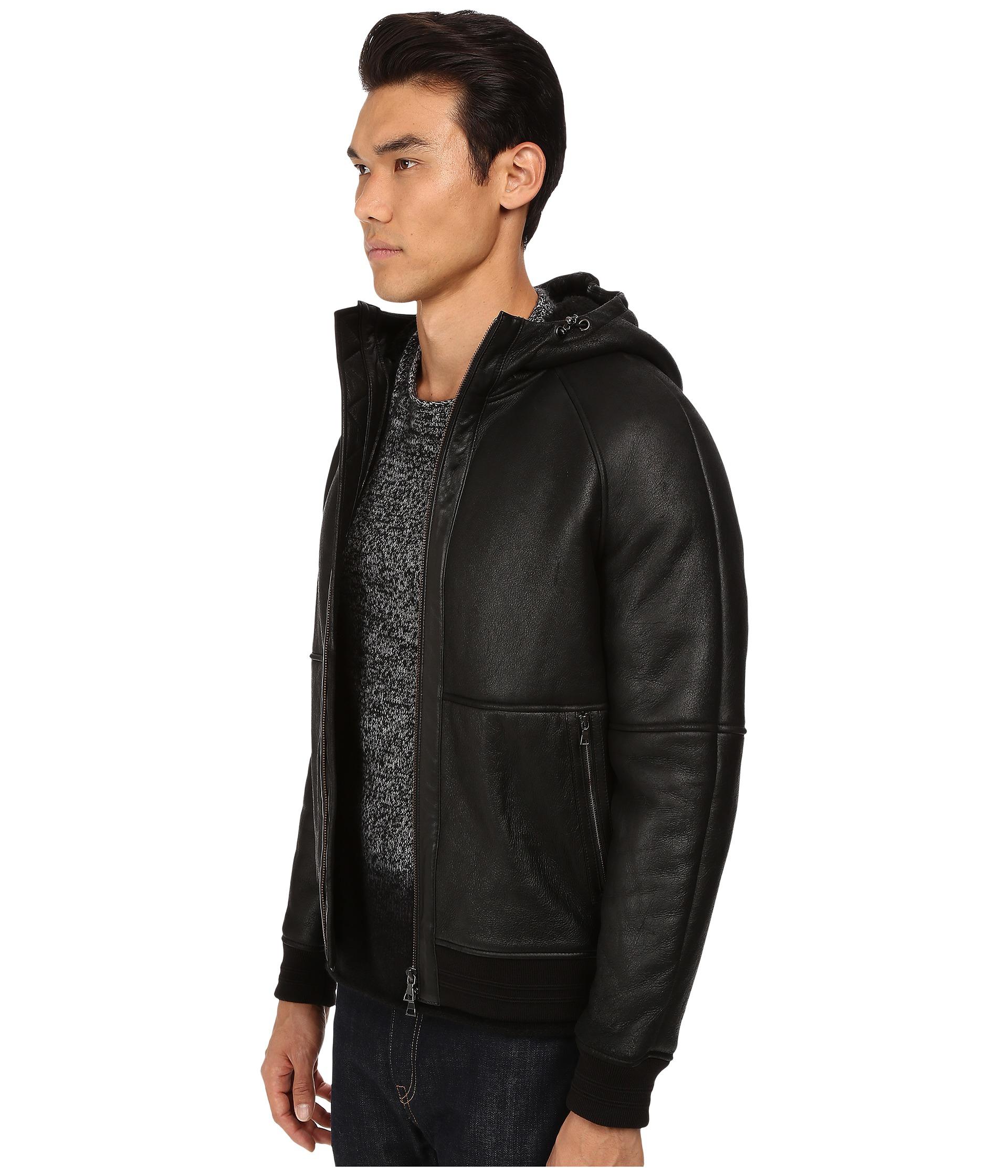 Lyst - Vince Hooded Shearling Jacket in Black for Men 002cf7192