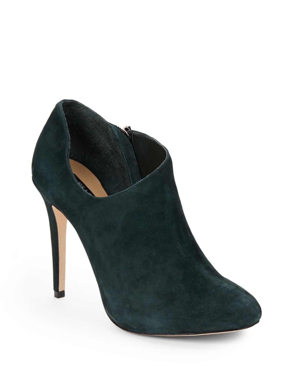 saks fifth avenue black brinda cutout suede ankle boots in