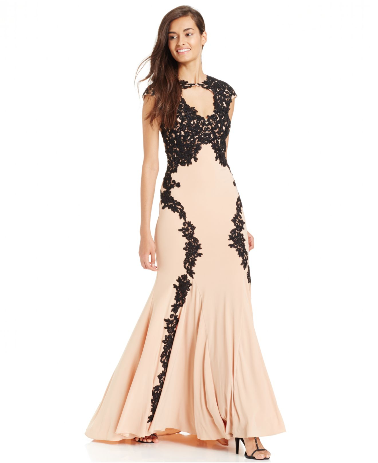 Lyst Betsy Adam Lace Overlay Keyhole Gown In Pink