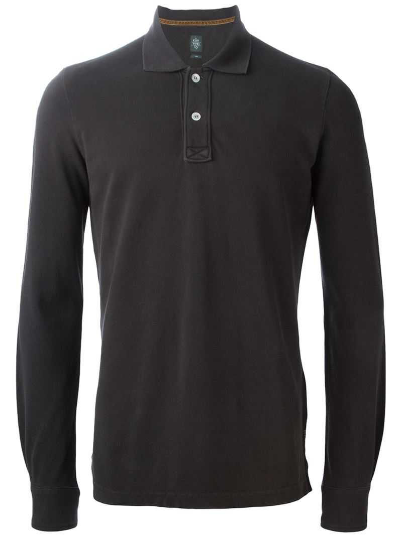 Lyst Eleventy Long Sleeve Polo Shirt In Brown For Men