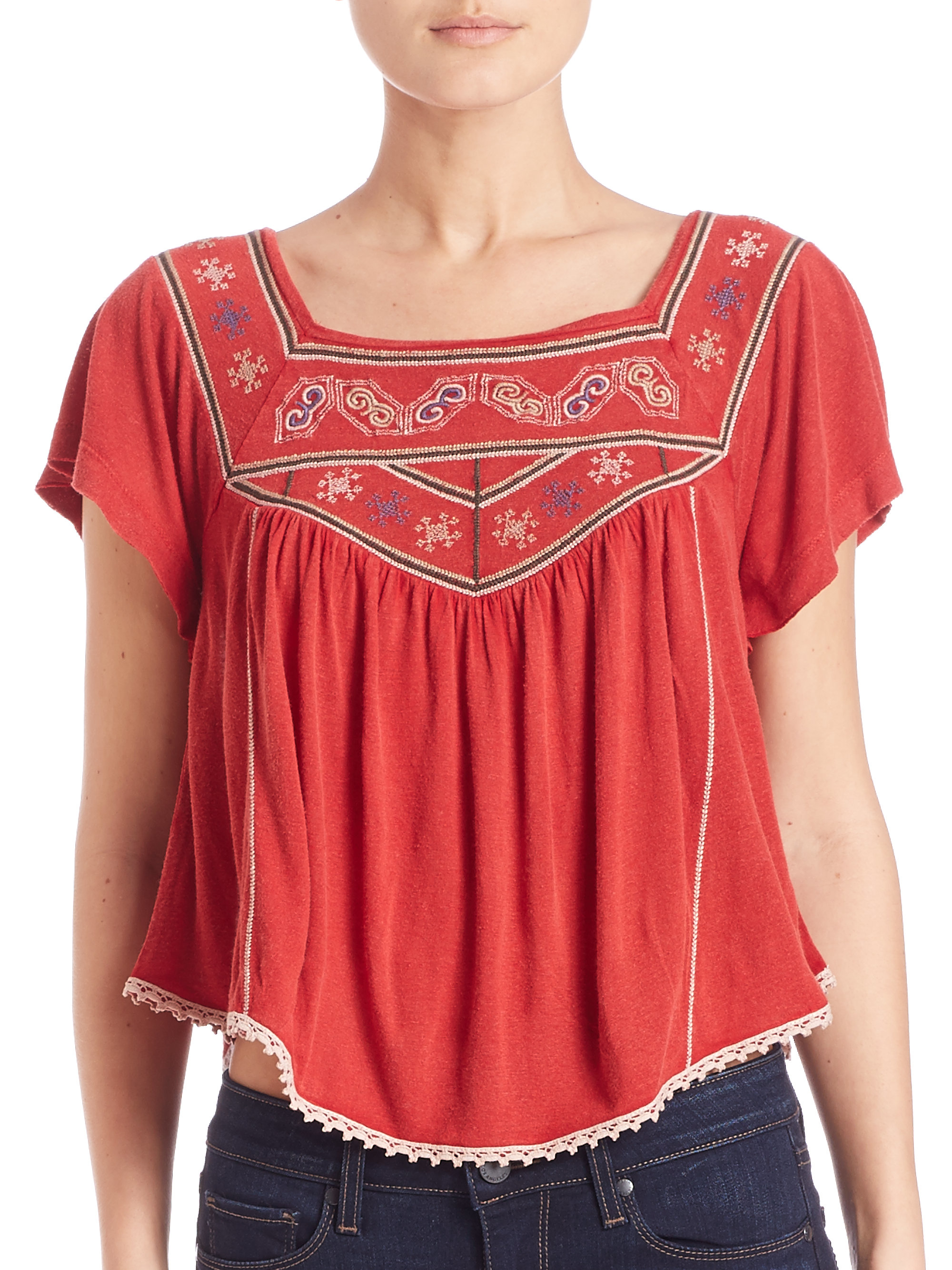 Lyst Free People Embroidered Muse Tee In Red