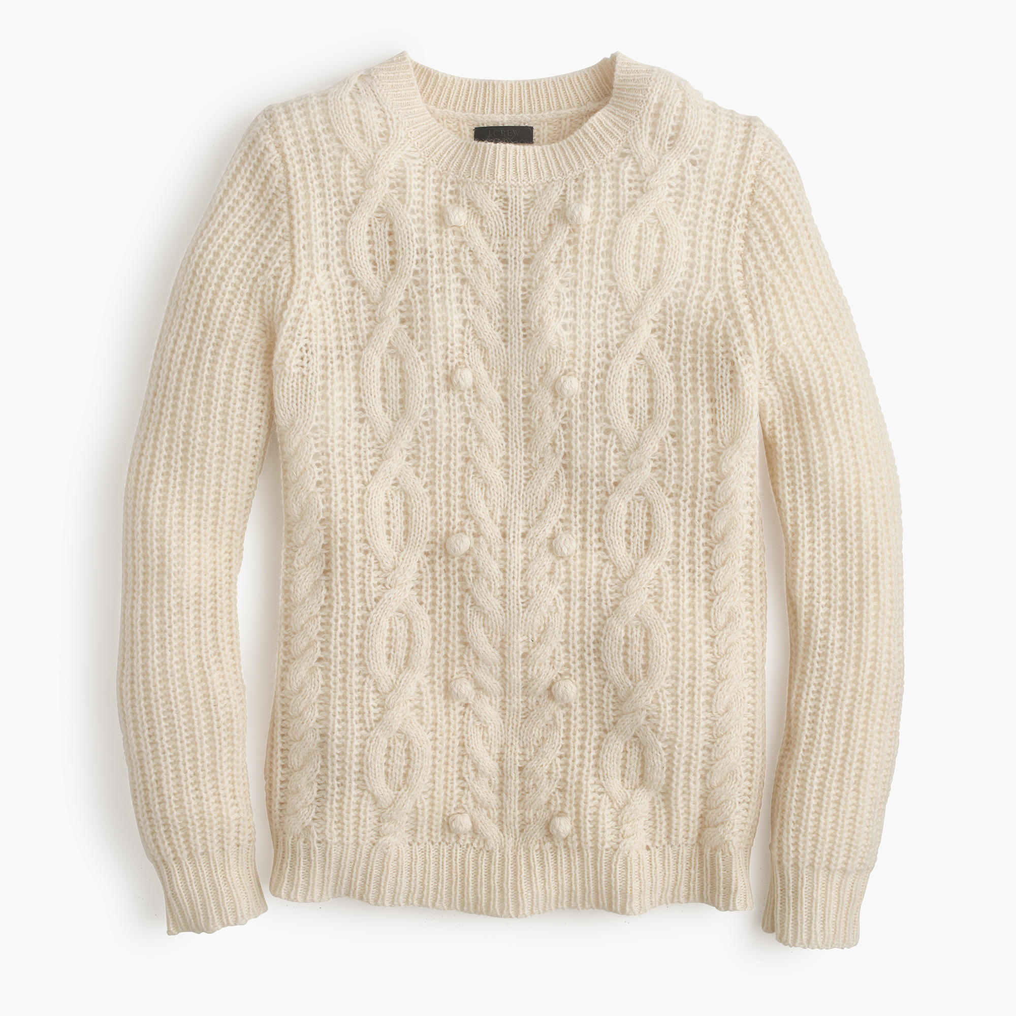 J.crew Italian Cashmere Cable Sweater With Pom-poms in Natural | Lyst