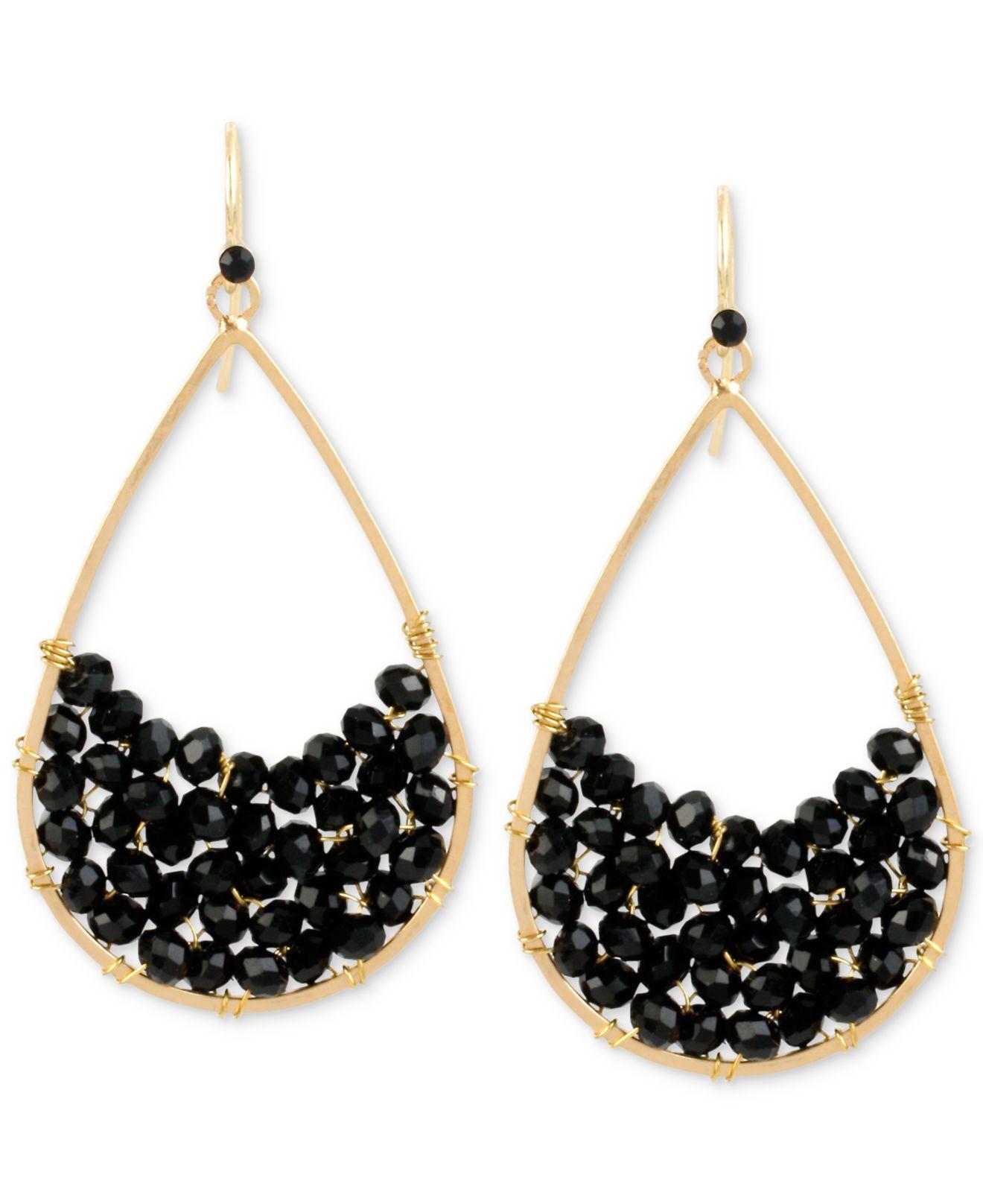 Black Stone Earrings: Kenneth Cole Gold-tone Black Stone Teardrop