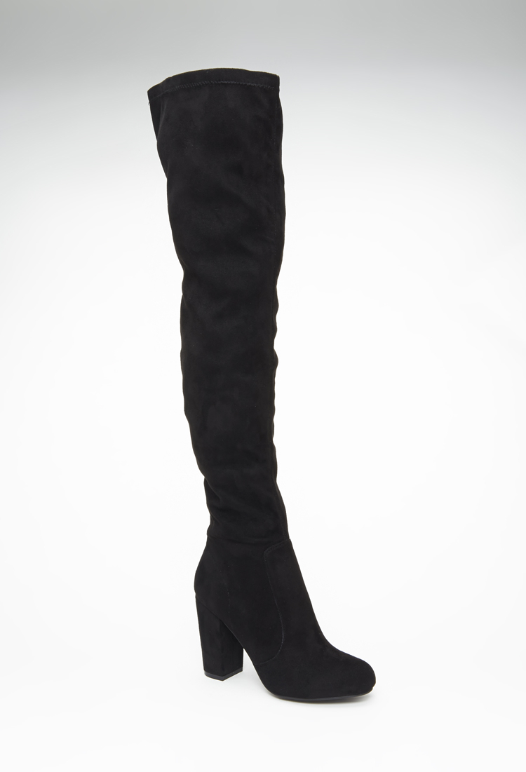 95a02ba7adb Lyst - Forever 21 Faux Suede Over-the-knee Boots in Black