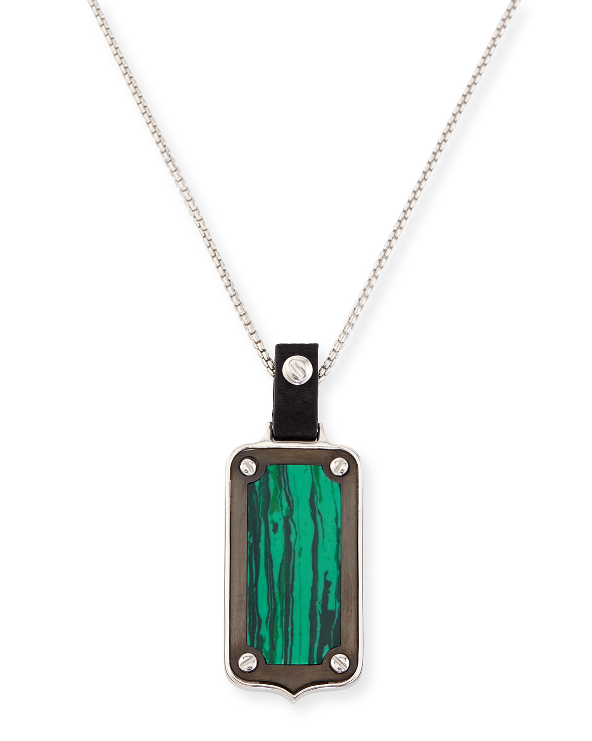 stephen webster sterling silver malachite pendant necklace