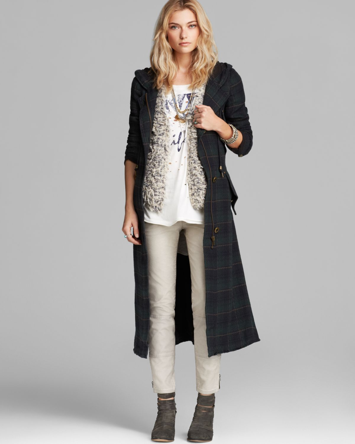 Free people Coat - Raw Textured Long in Blue | Lyst