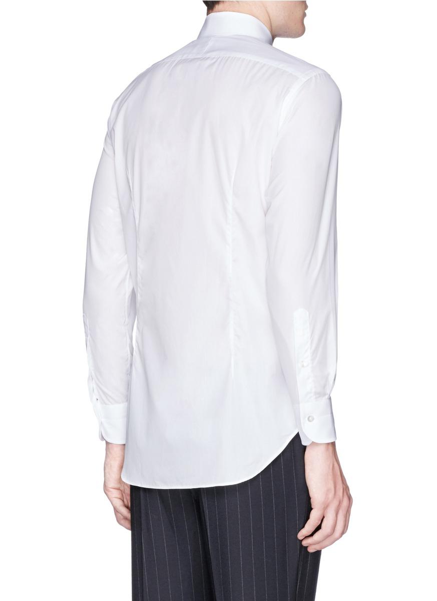 Lyst tomorrowland cutaway collar poplin shirt in white for White cutaway collar shirt
