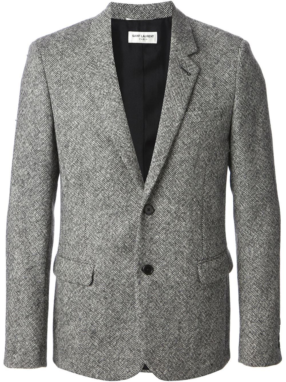 Saint laurent Tweed Blazer in Gray for Men | Lyst
