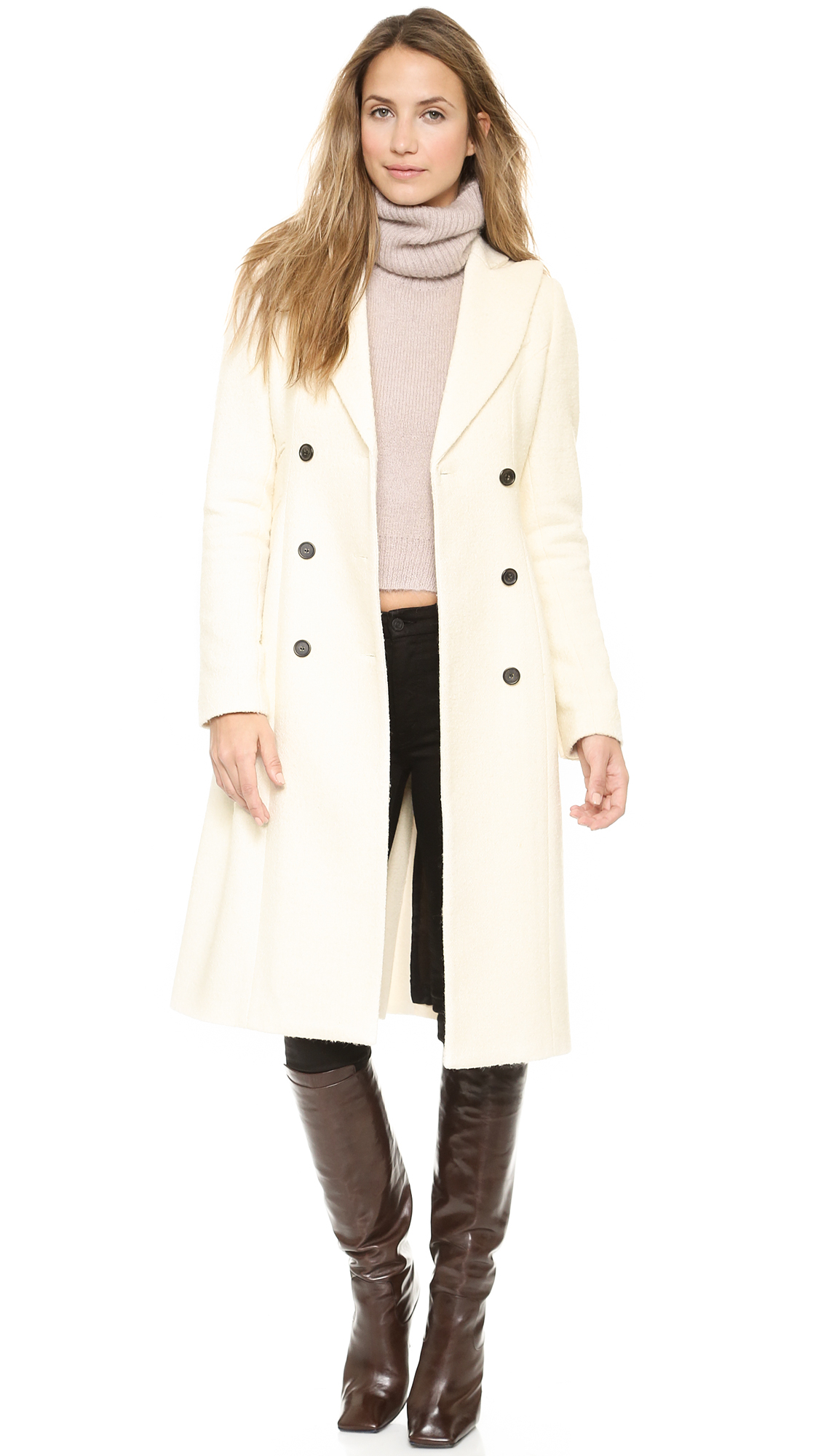 Smythe Reefer Coat Ivory Boucle In White Lyst