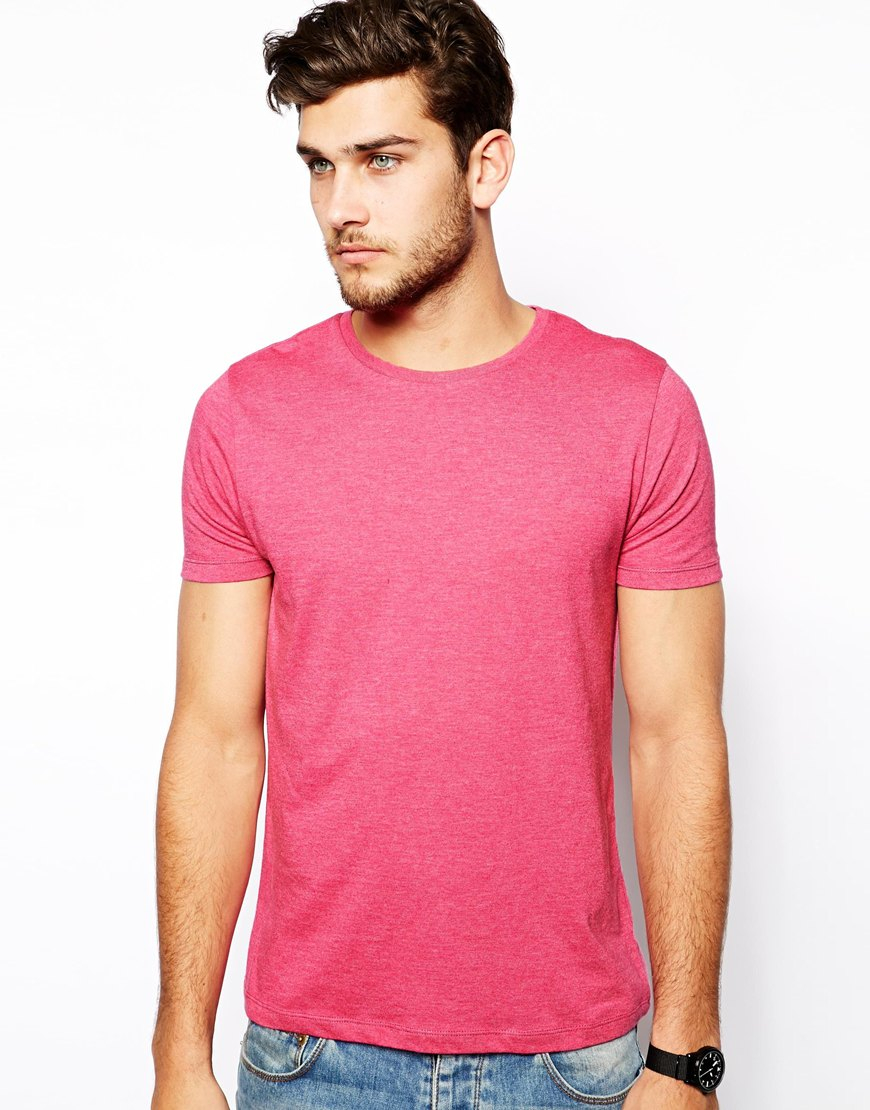 Asos T-Shirt With Crew Neck in Pink for Men | Lyst