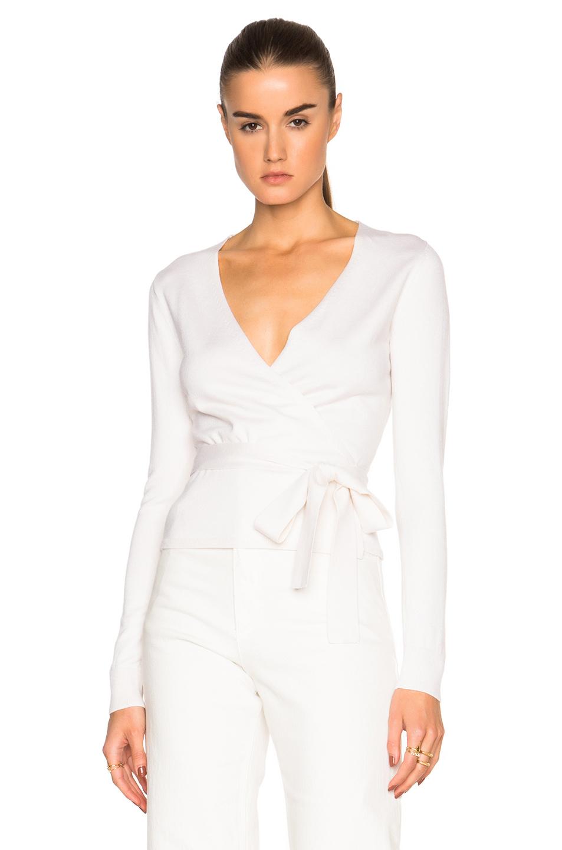 Diane von furstenberg Ballerina Wrap Sweater in White | Lyst