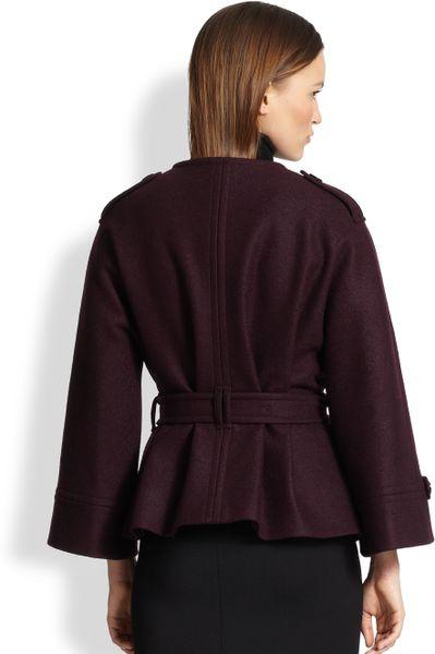 Burberry Barwell Short Belted Wool Cape Coat In Purple