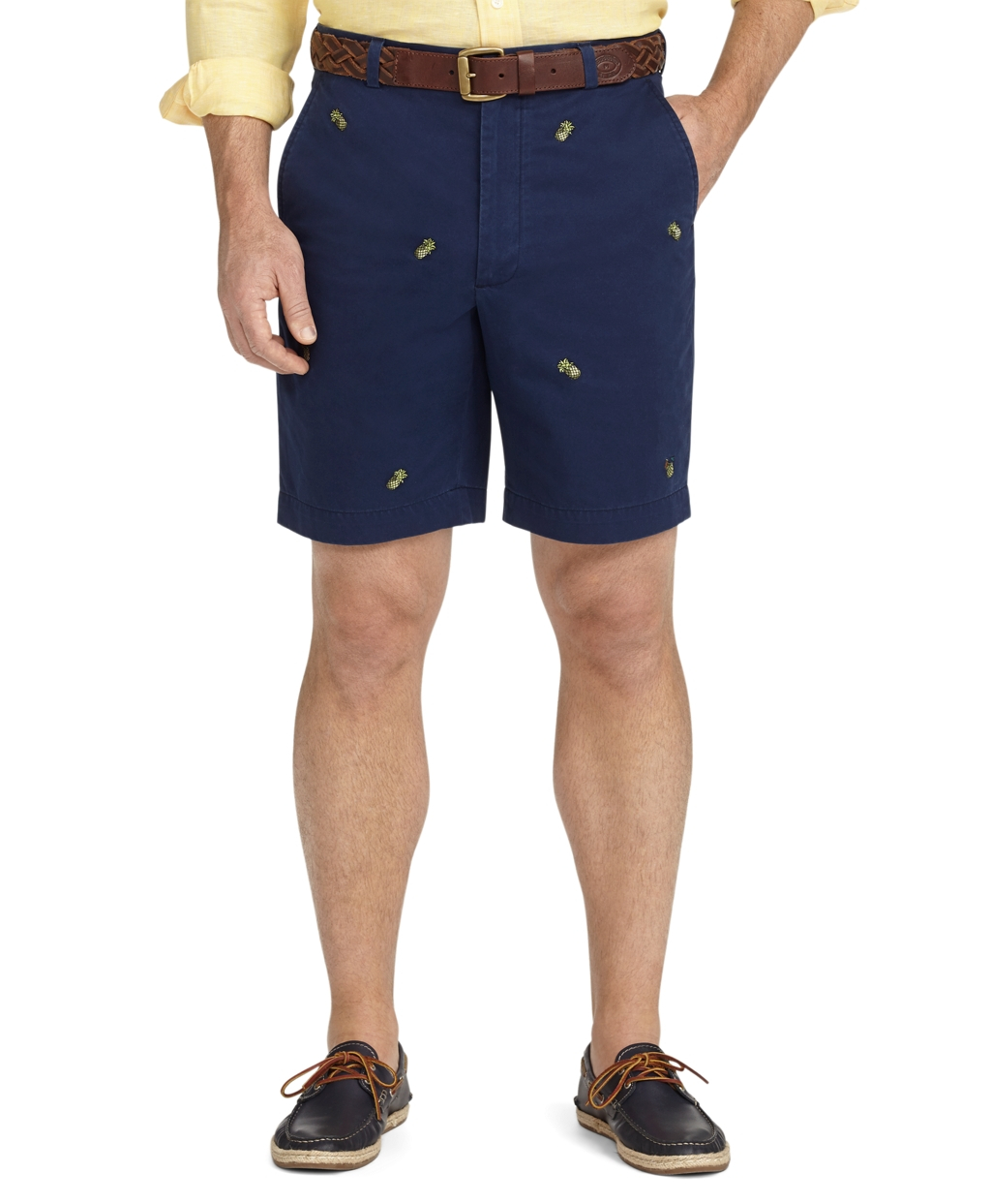 Brooks brothers Plainfront Pineapple Embroidered Shorts in Blue ...