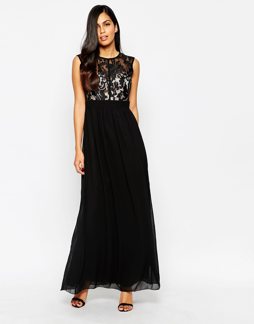 Lyst - Little Mistress Maxi Dress With Lace Top in Black