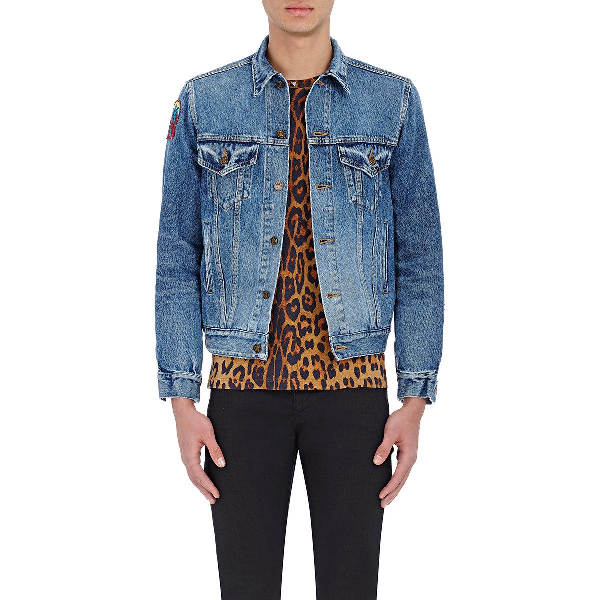 Saint laurent Men's Appliqued Denim Trucker Jacket in Blue for Men ...