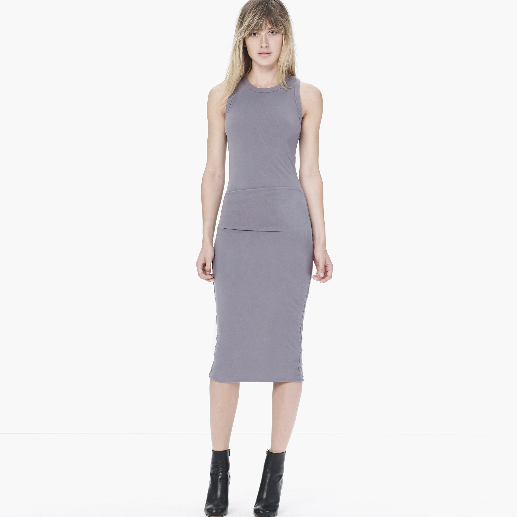 622b6f1b114c23 Lyst - James Perse Skinny Tucked Tank Dress in Gray