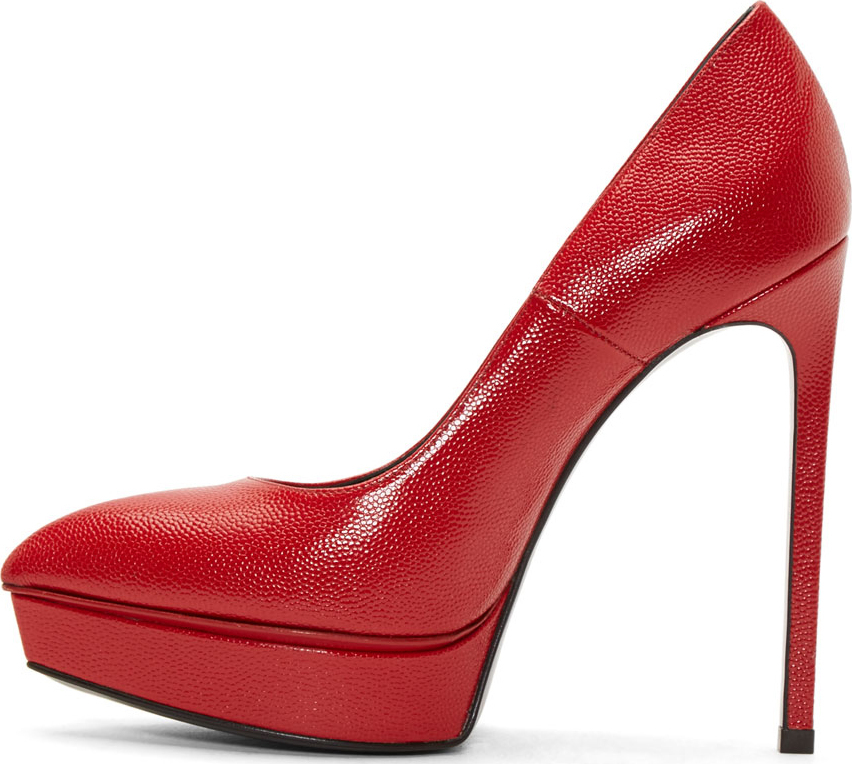 5a2cd09fbc375 Lyst - Saint Laurent Red Pebbled Leather Janis Pumps in Red