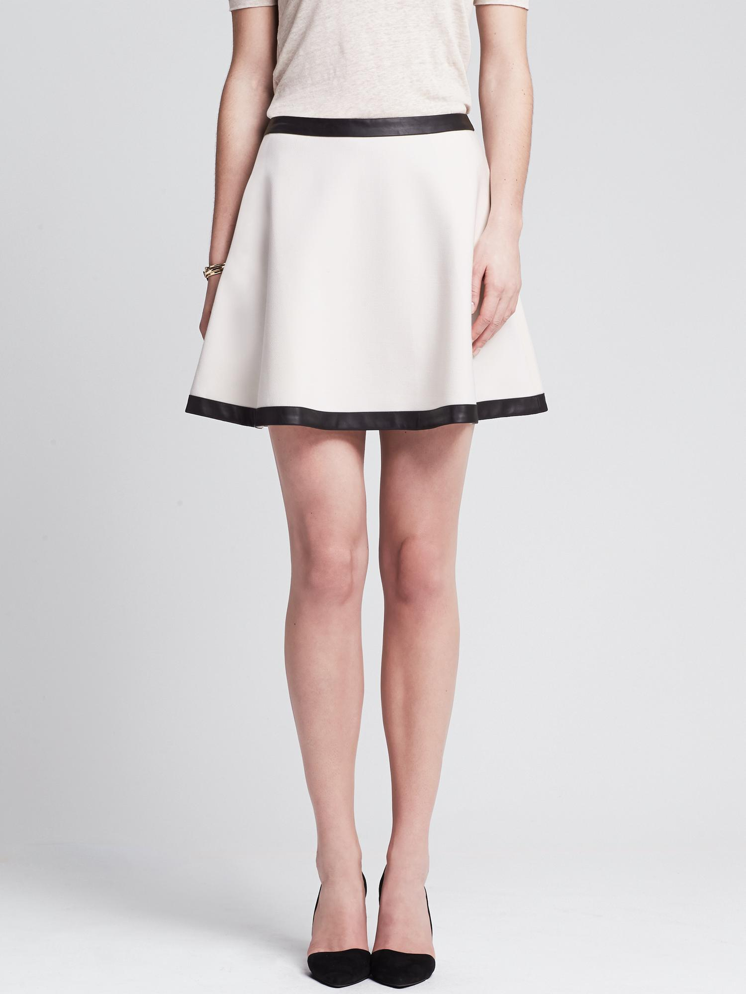 Banana Republic Faux-Leather Trim Full Skirt in White (Snow day ...