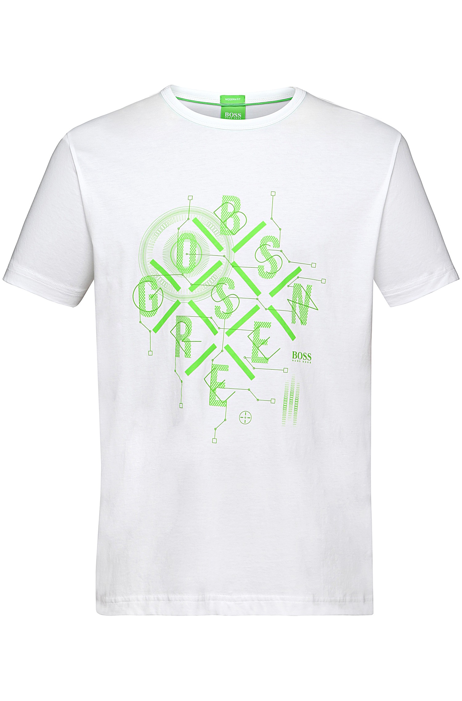 Boss green cotton t shirt with printed front motif 39 tee 3 for Sustainable t shirt printing