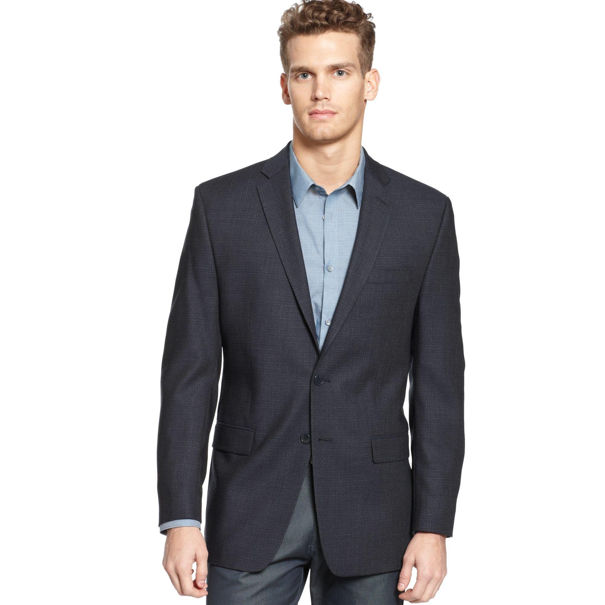 calvin klein sport coat navy solid in blue for men lyst. Black Bedroom Furniture Sets. Home Design Ideas