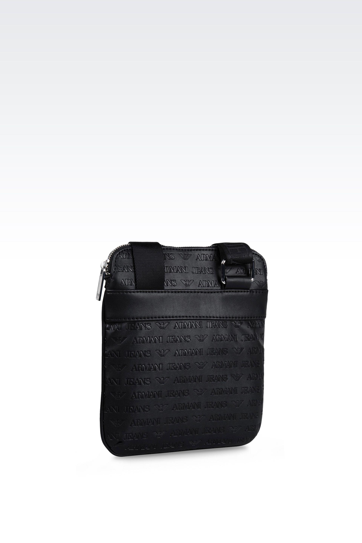 Lyst - Armani Jeans Flat Messenger Bag In Logo Patterned Faux ... 54b850d25d