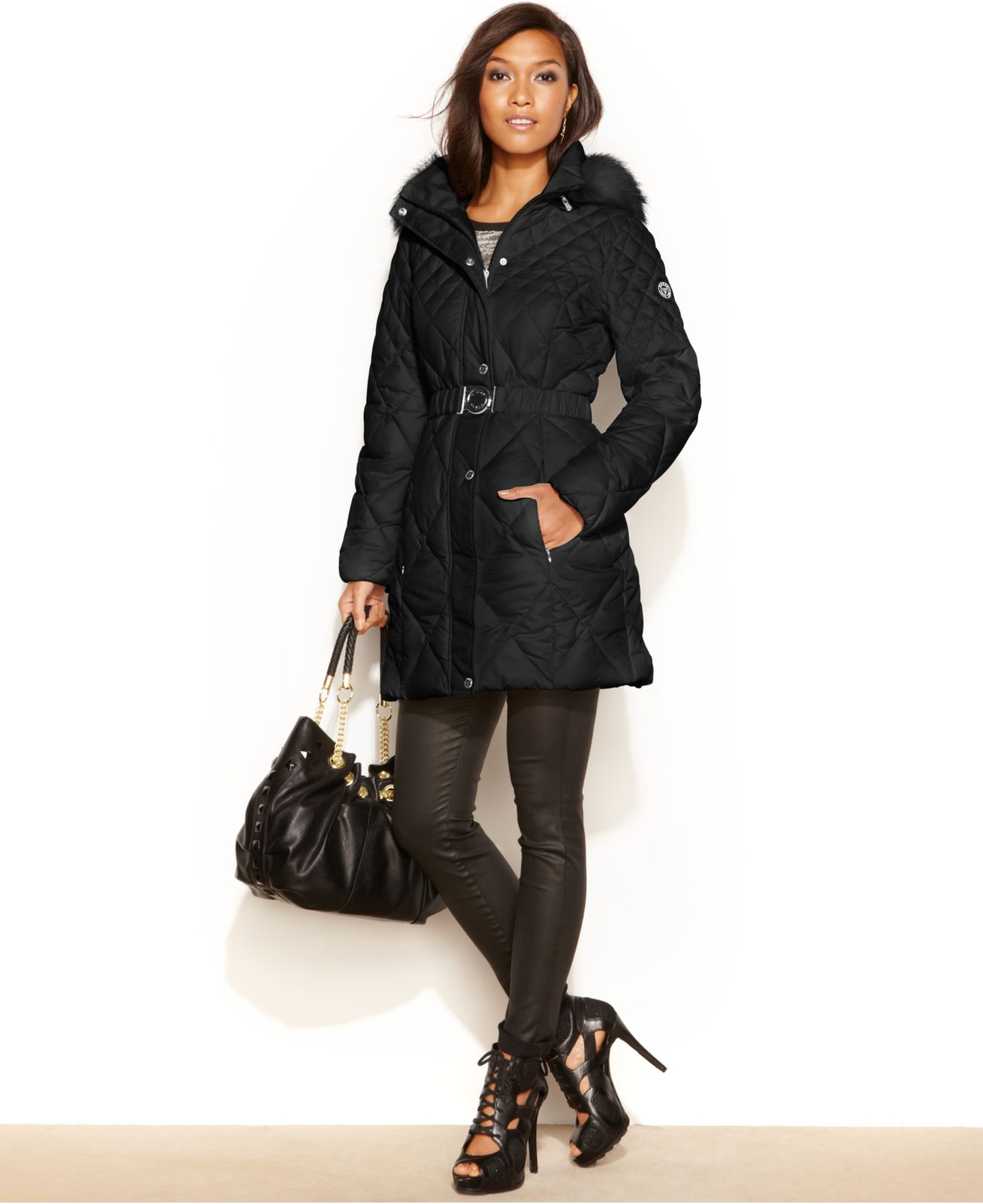 Guess Coat, Hooded Faux-Fur-Trim Quilted Puffer in Black | Lyst