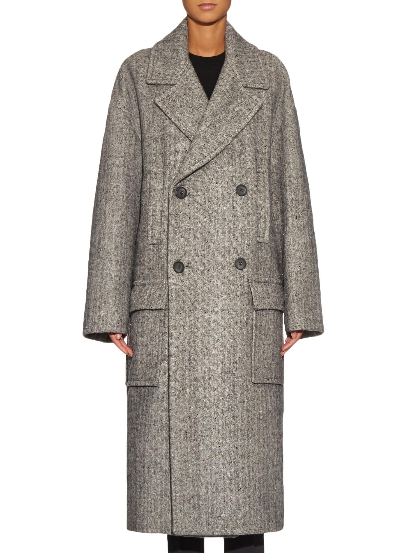 Raey Oversized Virgin Wool Blend Coat In Gray Lyst