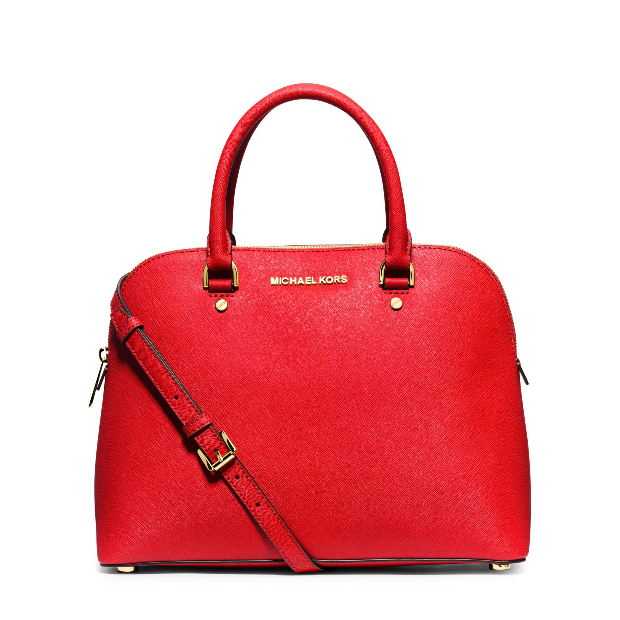 Michael Kors Cindy Laukku : Michael kors cindy large saffiano leather satchel in red