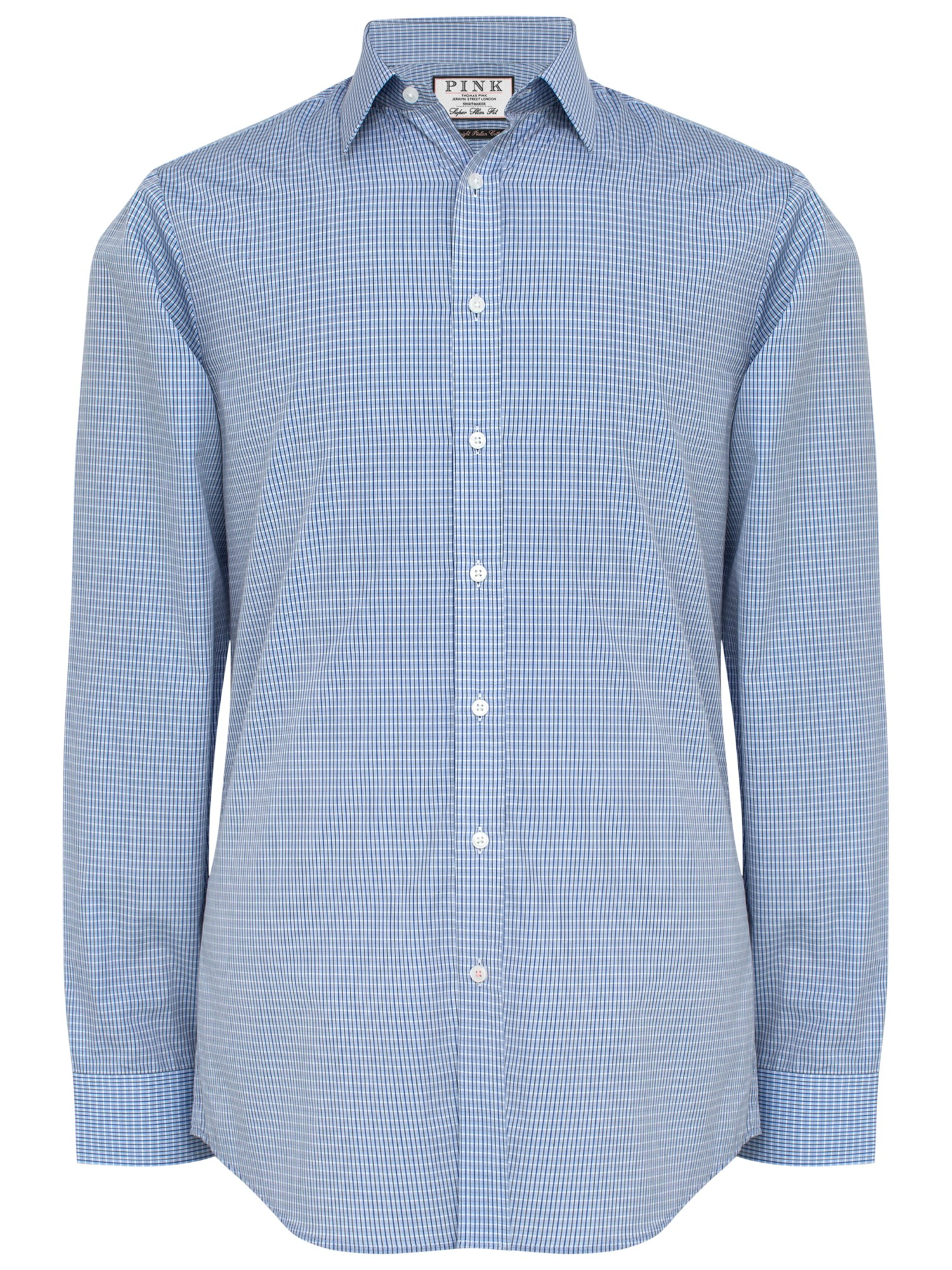 Thomas Pink Macy Check Super Slim Fit Shirt In Blue For