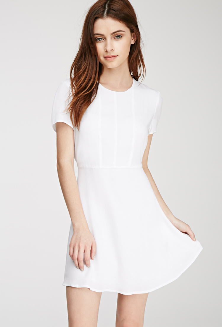Forever 21 Textured Woven A-line Dress in White | Lyst