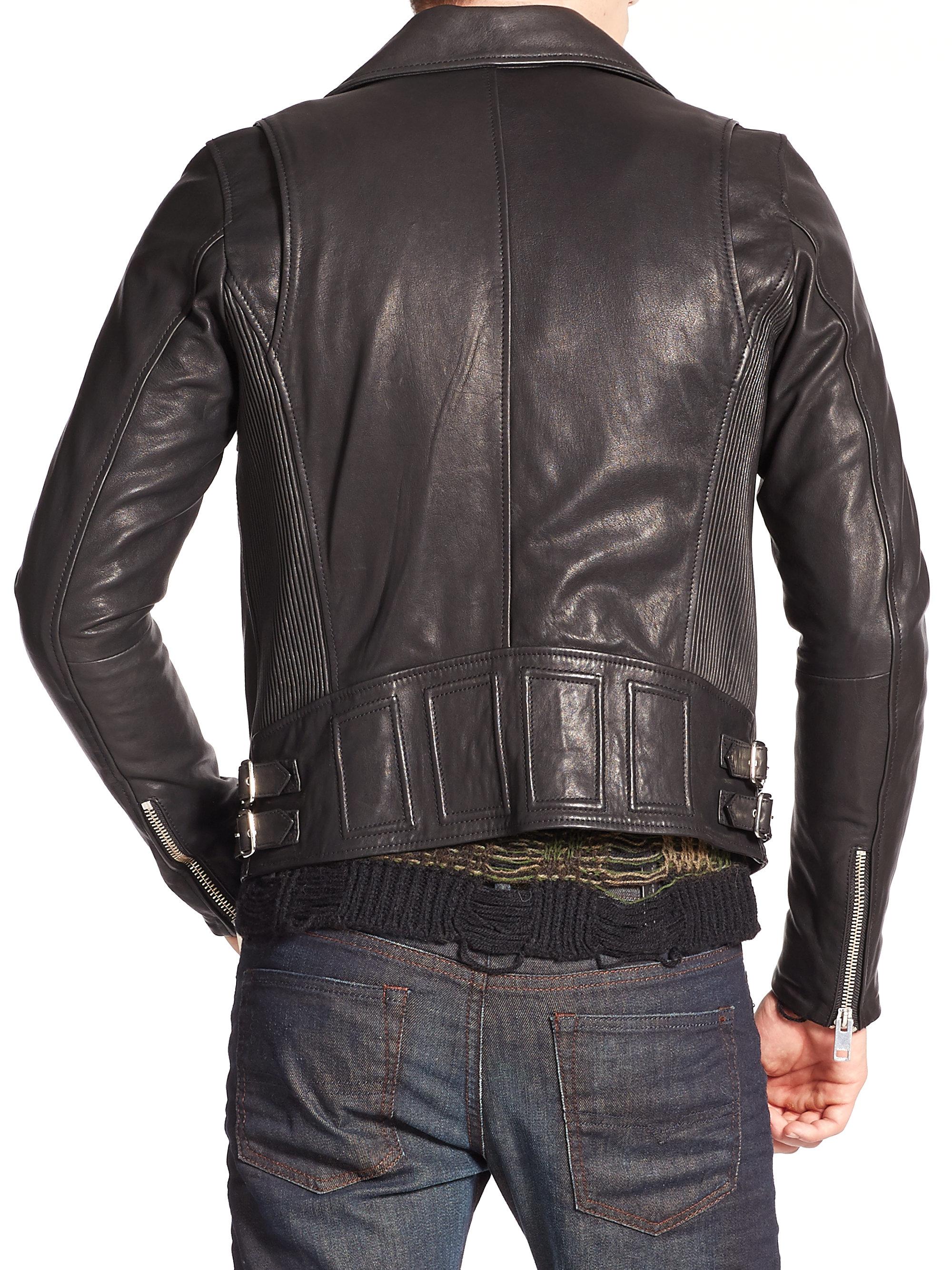 Diesel Gibson Leather Jacket In Black For Men Lyst