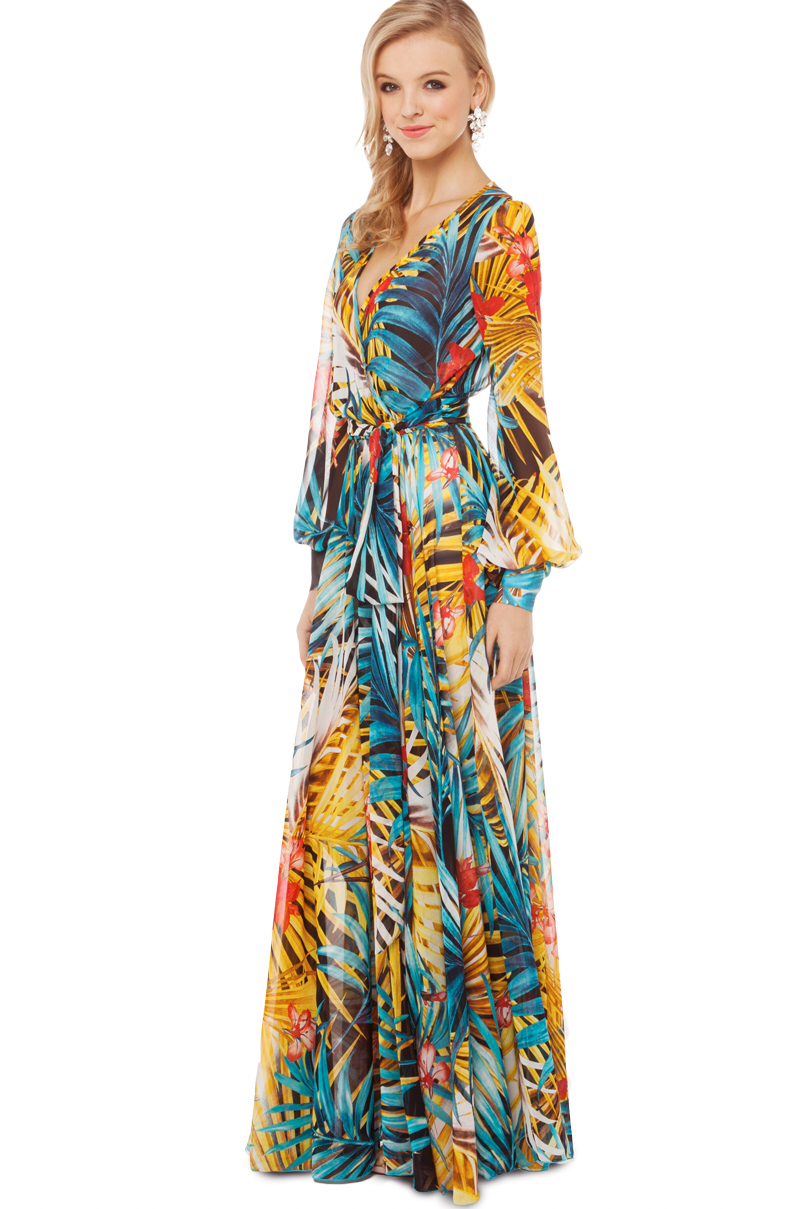 yellow dress flowy akira black label tropical print flowy maxi dress in 669