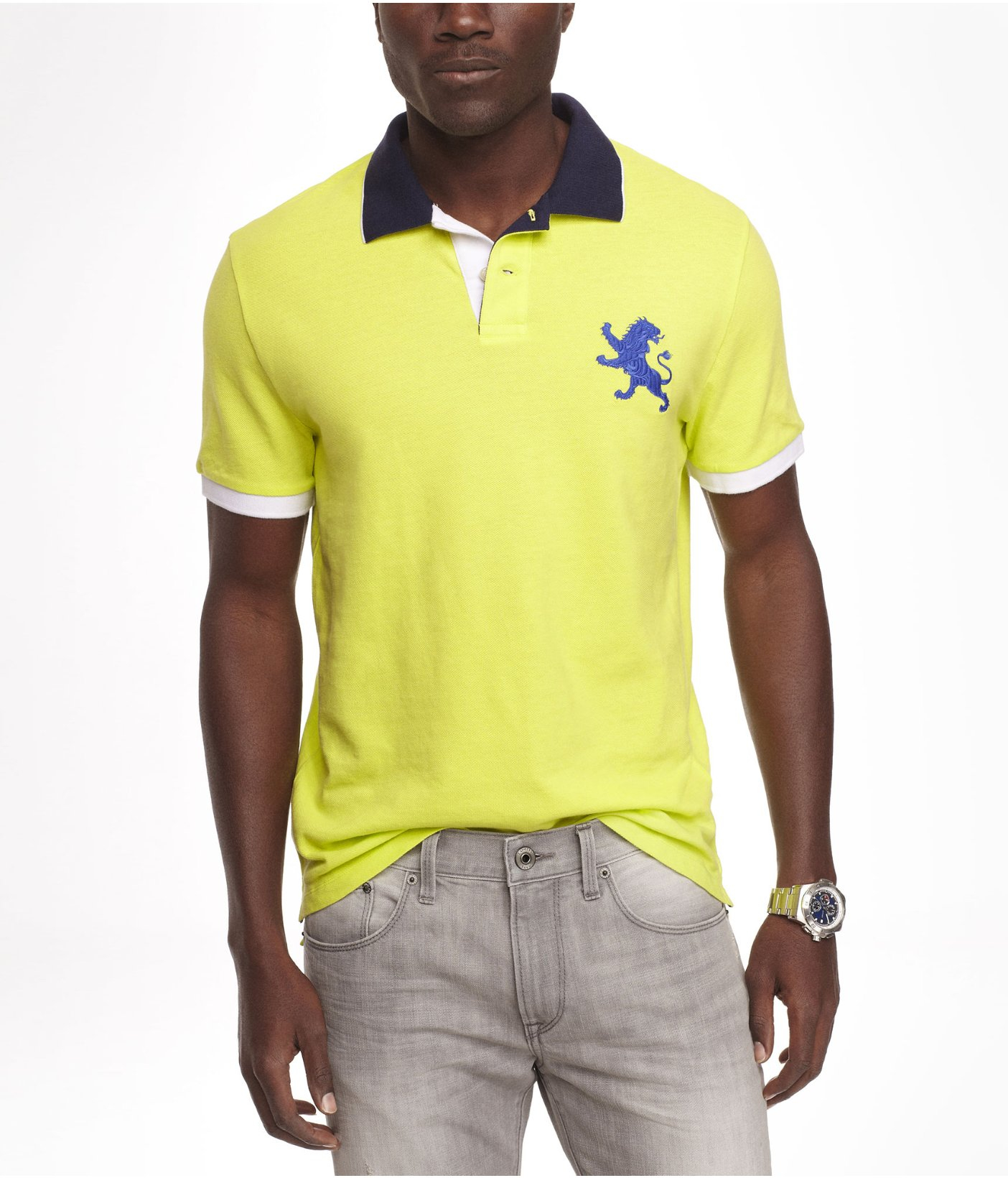 67824eba1 Lyst - Express Color Tipped Large Lion Polo in Yellow for Men