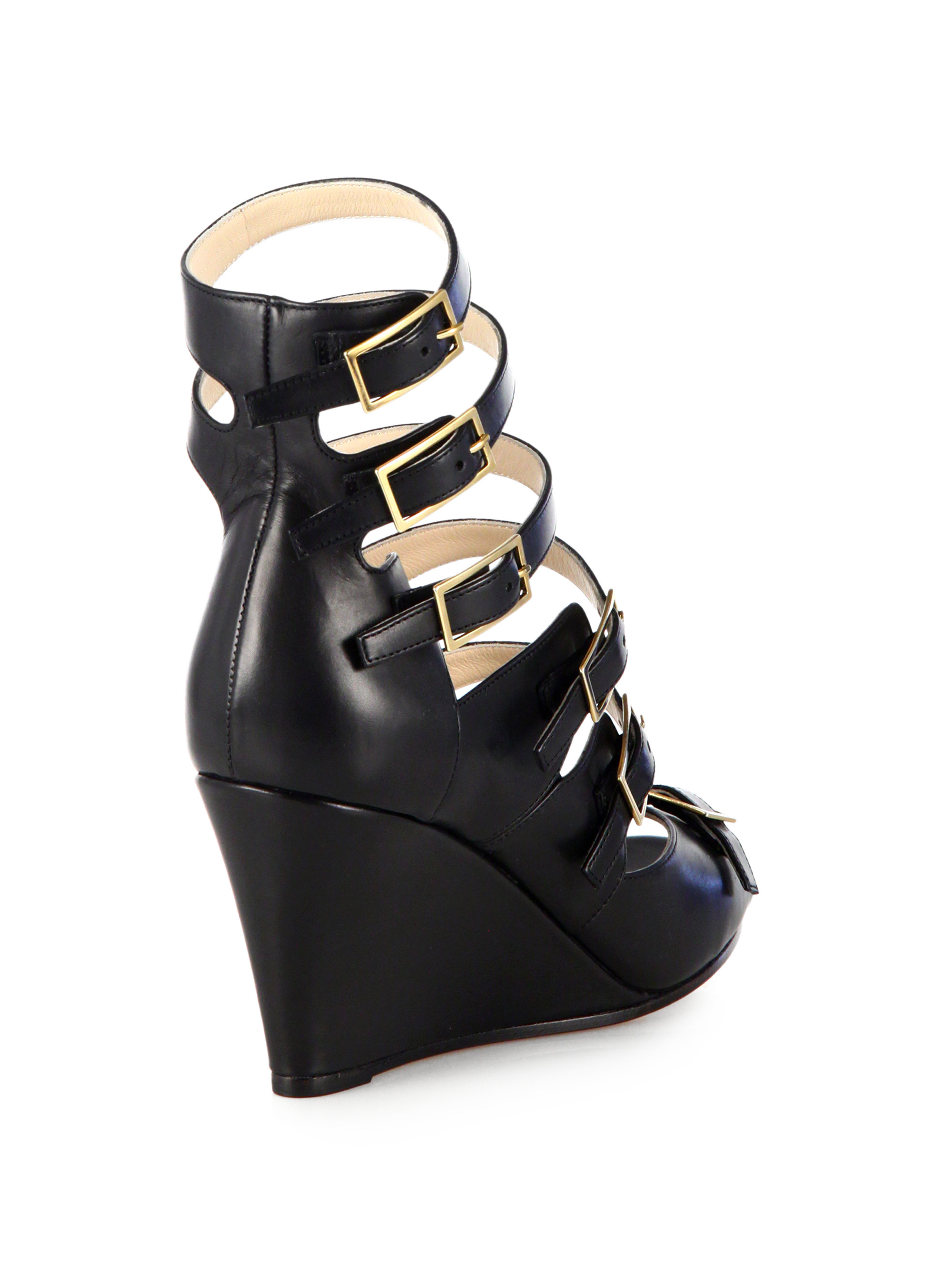 Chlo 233 Strappy Leather Wedge Sandals In Black Lyst