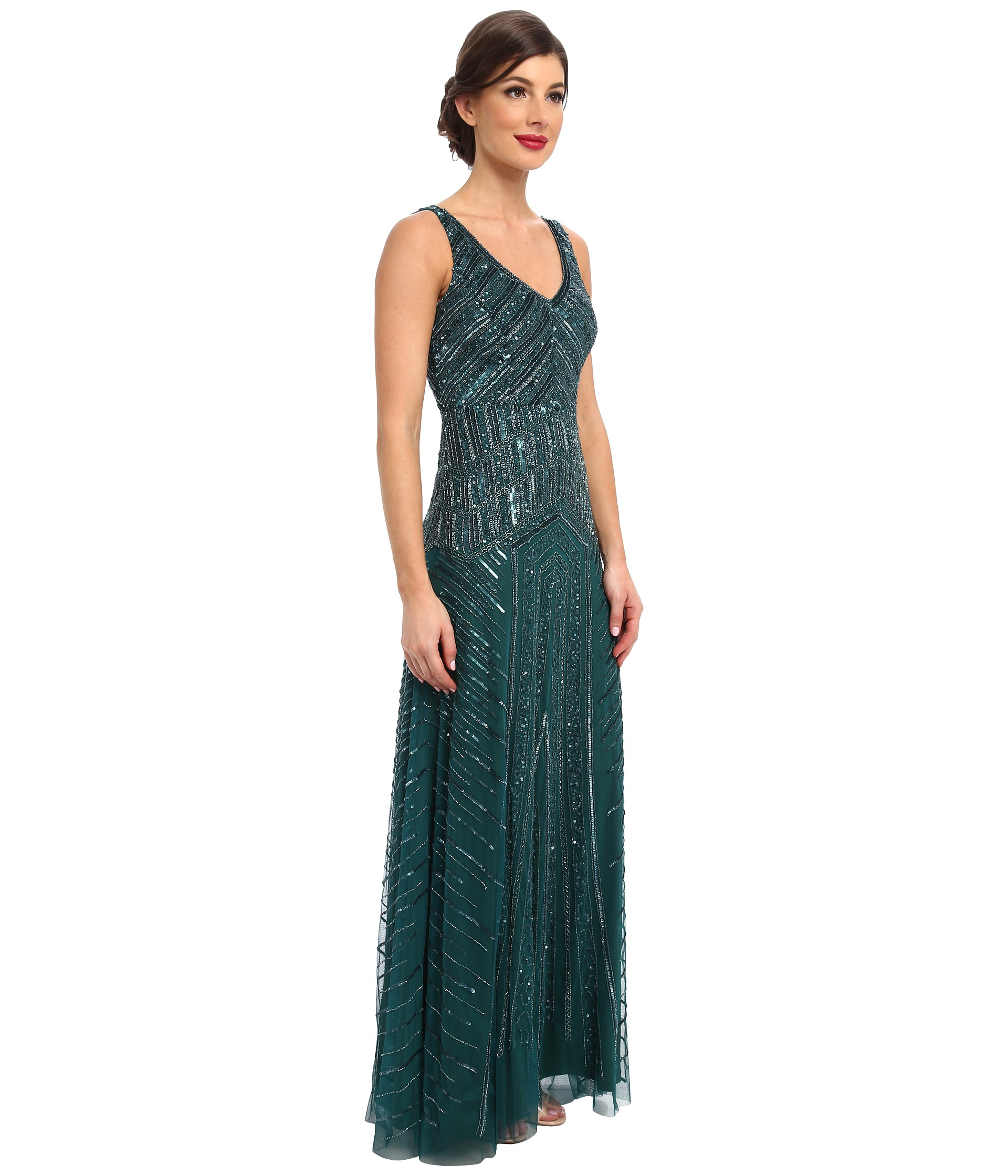 Lyst - Adrianna Papell Long Beaded Dress in Green