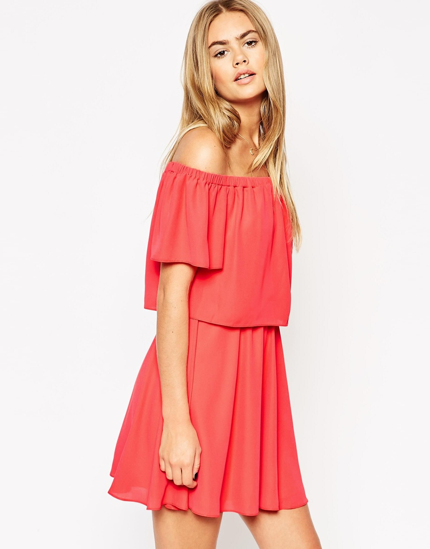 9486fdb0ead2 Lyst - ASOS Off Shoulder Dress With Short Sleeves in Pink