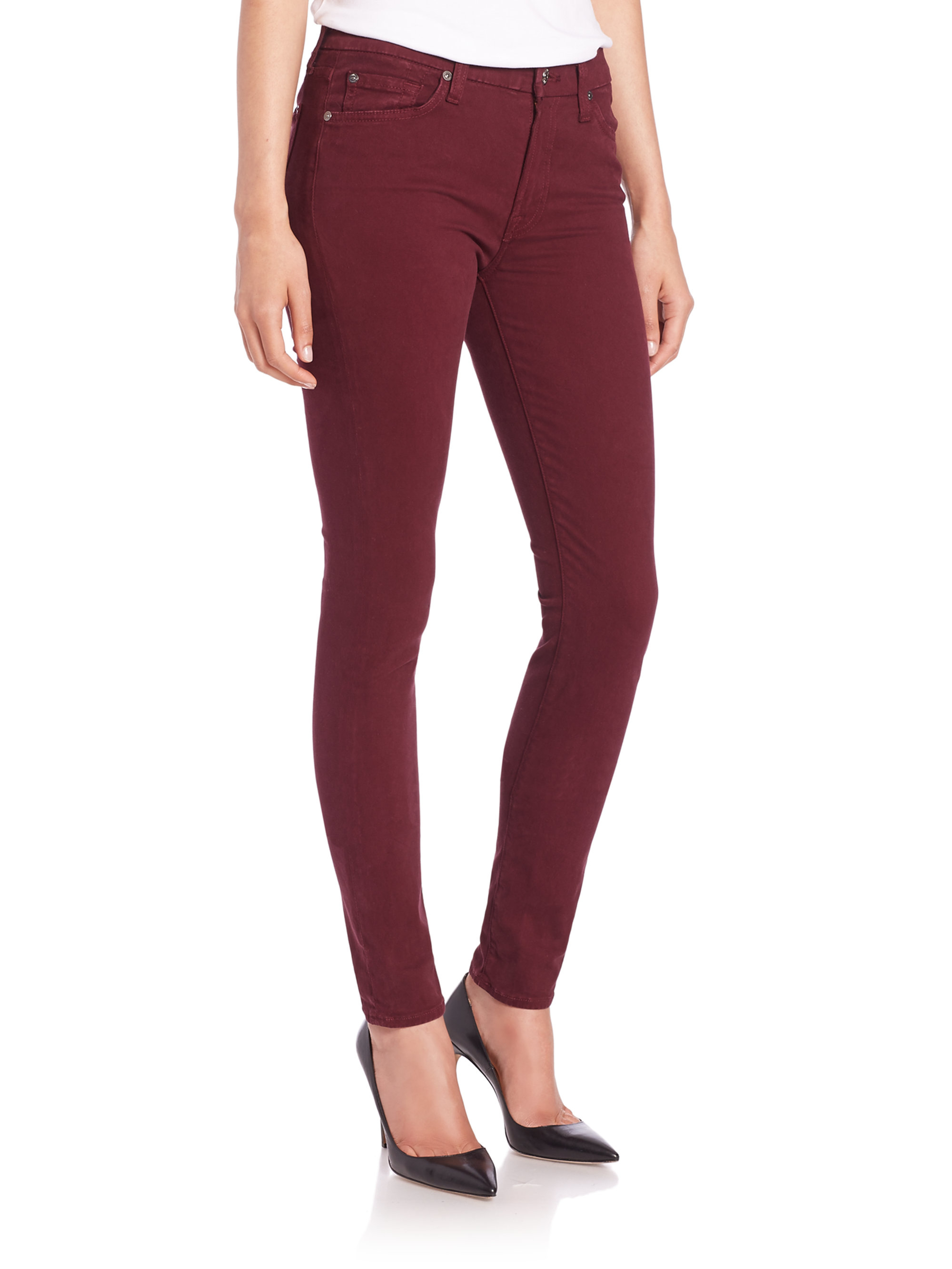 7 for all mankind Mid-rise Skinny Brushed Sateen Jeans in Red | Lyst